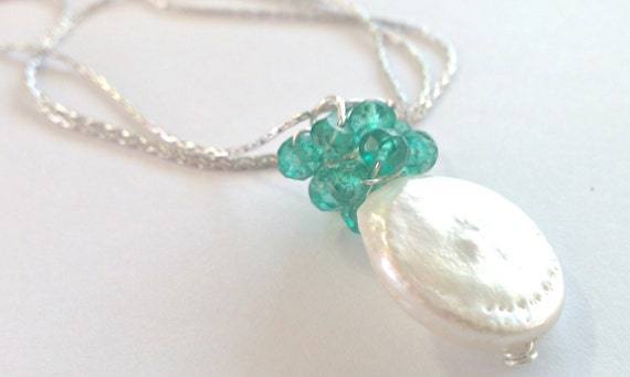 Emerald Coins, Mystic Green Quartz and Freshwater Coin Pearl Cluster Necklace---MATCHING EARRINGS
