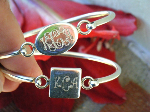 CLEARANCE Sterling Silver Monogrammed Bracelets, vintage bangle personalized KCA, sweet gift for her engraved initials wedding