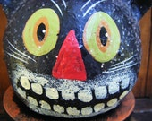Reserved for MaPtiteChouette Vintage BLACK CAT Paper Mache BOX hand painted  for your Halloween Goodies