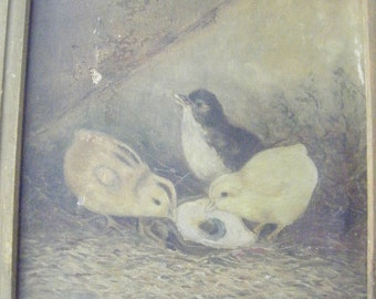 Shabby chicks OIL on CANVAS painting, M. Quigg 1901