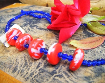 Vintage Glass Bead Necklace, Made in Czechoslovakia, Red and Blue