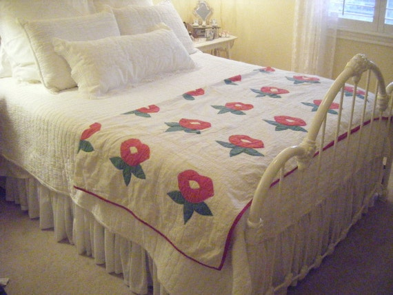 RESERVED for Heather Shabby Antique QUILT, Red flowers, Green Leaves, Hand Quilted