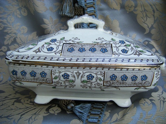 Antique China Transferware TUREEN by T & R Boote, England, Blue Flowers, Gold Trim