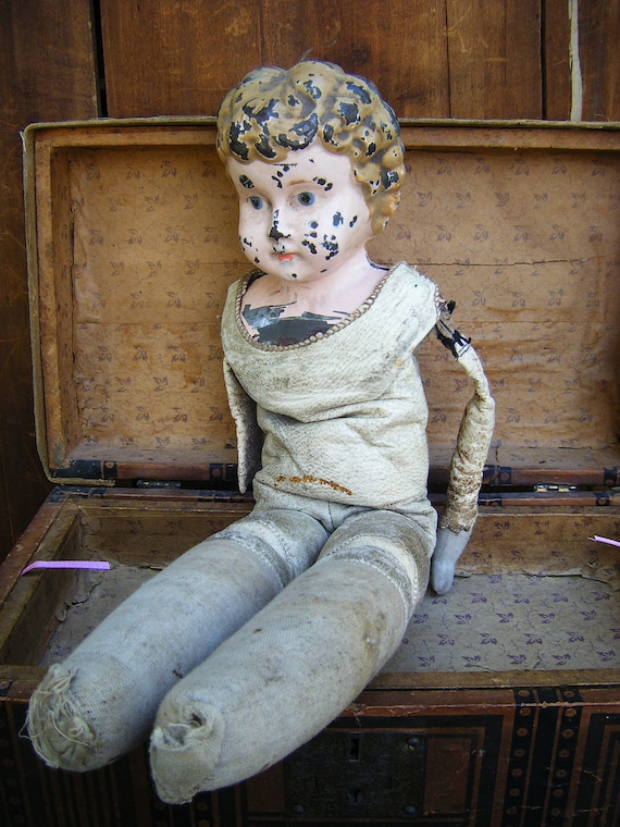 Antique Tin Head Doll, Leather Body