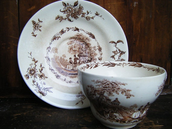 Masons Oversized Ironstone China Cup and Saucer, Brown Transferware, Watteau, England