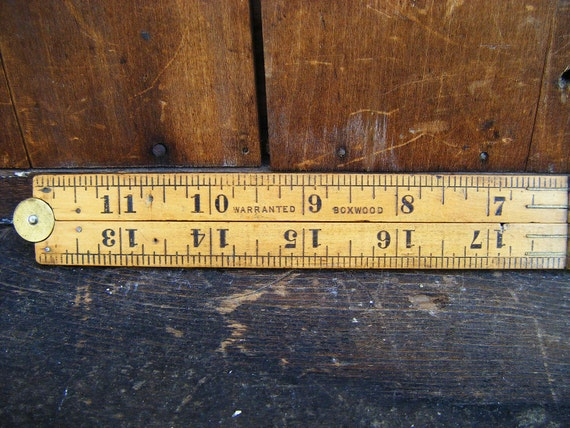 Antique Stanley No. 68A Folding Rule, Brass and Boxwood
