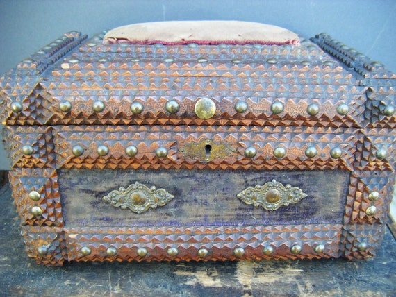 Large 1800's Tramp Art Box with Victorian Cut Outs and Pin Cushion, Antique