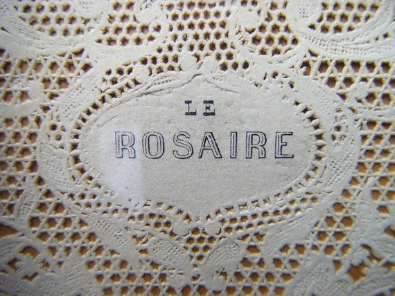 RESERVED FOR KO Antique 1900 French Hand Tinted Engraving Le Rosaire, Paper Lace, Gold Gilt Frame