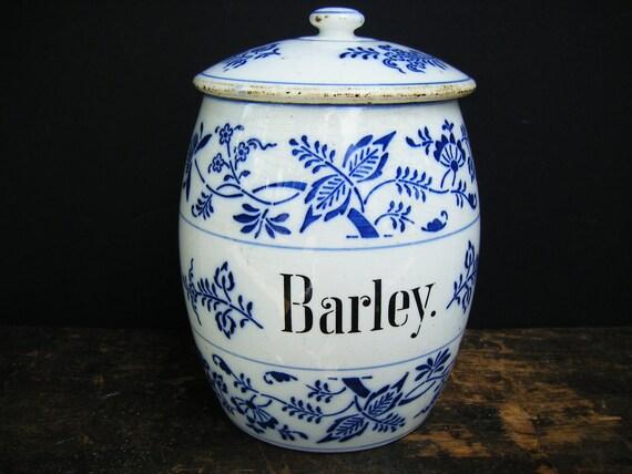 German Antique Blue Onion Barley Canister Jar, Flow Blue