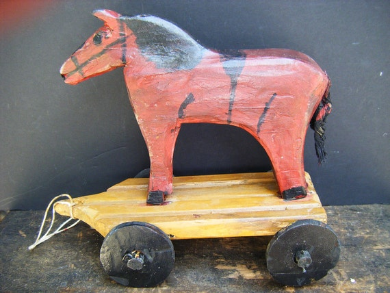 RESERVED for JANET Emile Bluteau Folk Art Primitive Wood Carving, Horse pull toy, Listed Quebec Artist