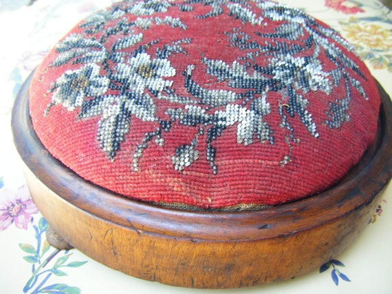 Antique 1800's Victorian Beaded Foot Stool, Red Needlepoint with Glass Beads