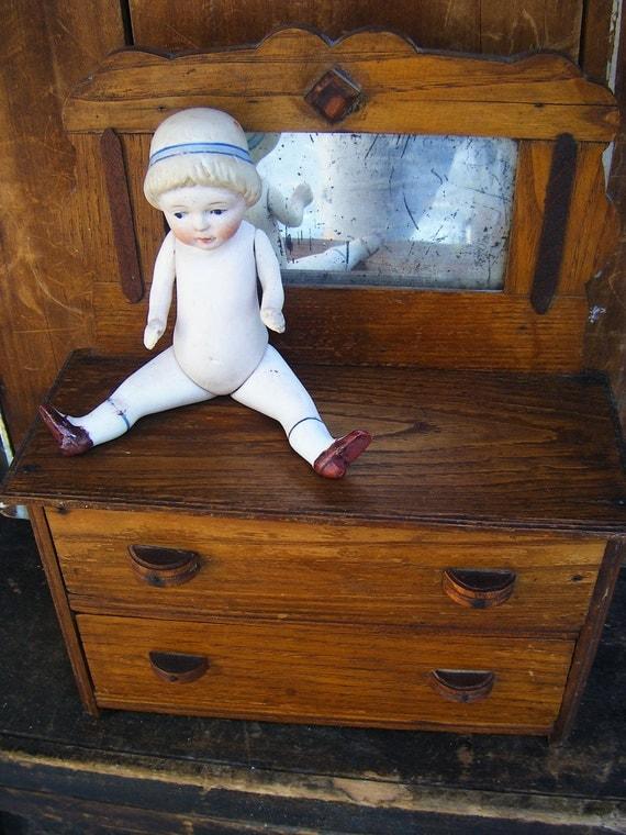 Antique Oak Doll Dresser with Mirror, Victorian Child's Toy Chest