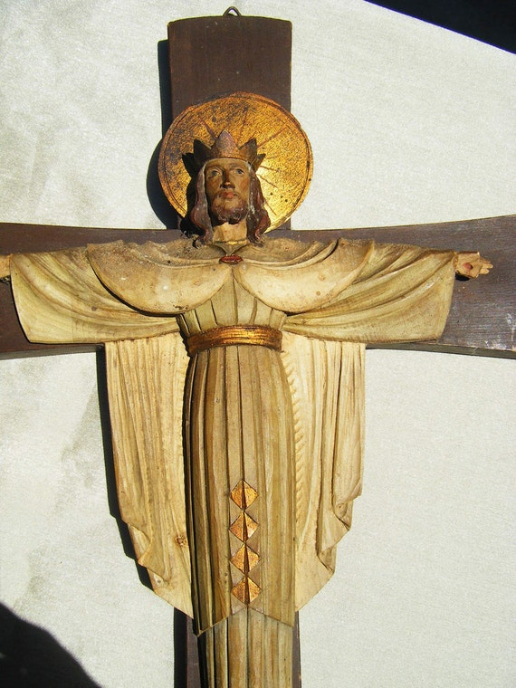 RESERVED for DAVID Antique Italian Crucifix, Hand Carved, Hand Painted Jesus on the Cross