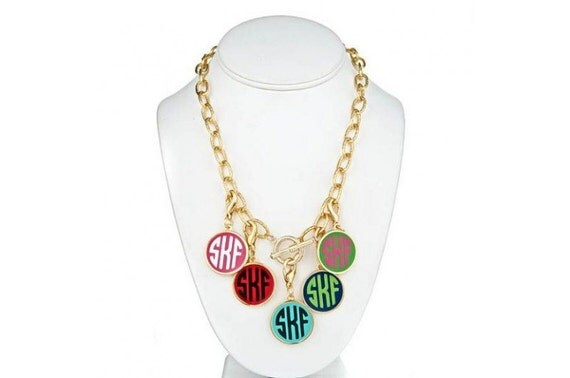 preppy monogrammed necklace by tootlebugs on etsy