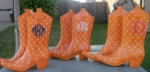 Orange Personalized Rain Boots Stadium Stompers- size 7 only