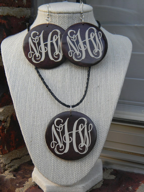 Monogram Wooden Necklace and Earring Set