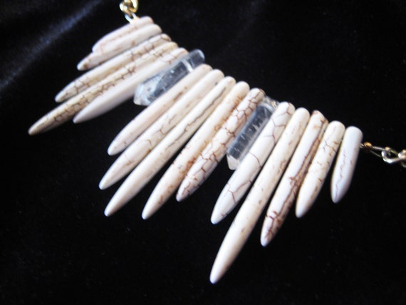Store Closing Moving Sale - Radiating Howlite and Quartz Crystal Points Necklace