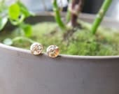 Round Brown Glitter Button Earrings