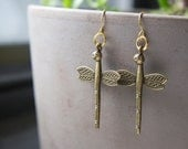 Antique Bronze Dragonfly  Earrings