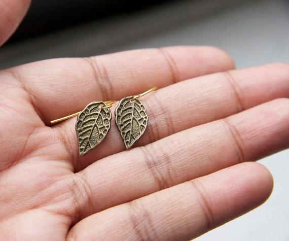 Antique Bronze Broad Leaf Earrings