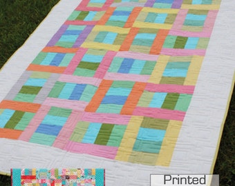 """Can Can 2-1/2"""" Strip Quilt Pattern -  Includes Multiple Sizes -   Crib to King size -  Printed Pattern"""