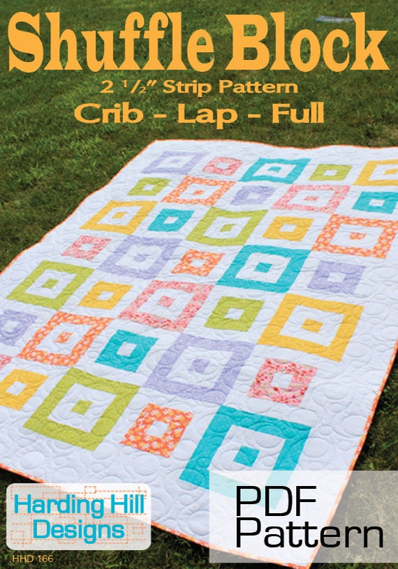 "Shuffle Block 2-1/2"" Strip Quilt Pattern -  Multiple Sizes -  PDF version"