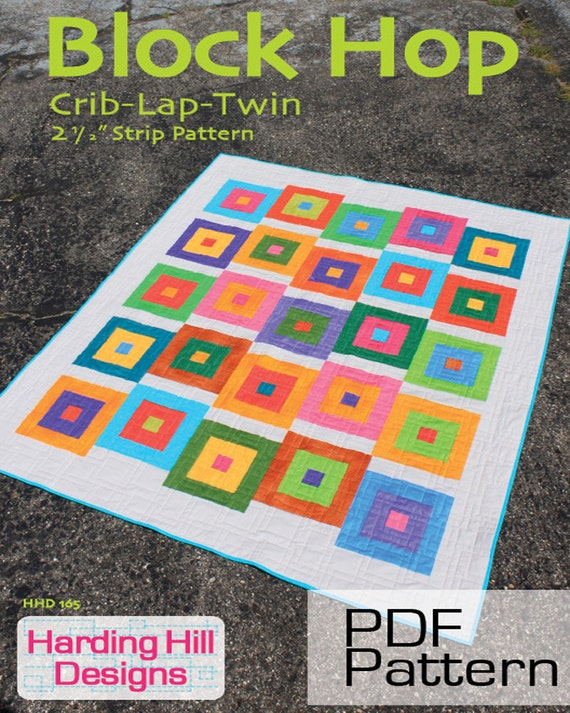 Block Hop 2-1/2 Strip Quilt Pattern Multiple Sizes