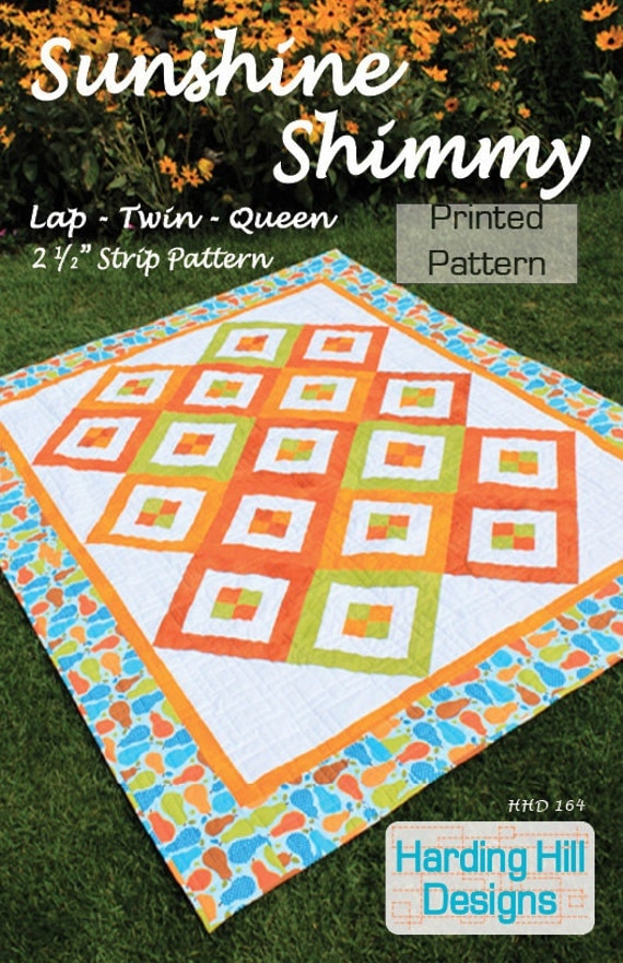 """Sunshine Shimmy 2-1/2"""" Strip Quilt Pattern - Lap, Twin, Queen Sizes -  Printed Pattern"""