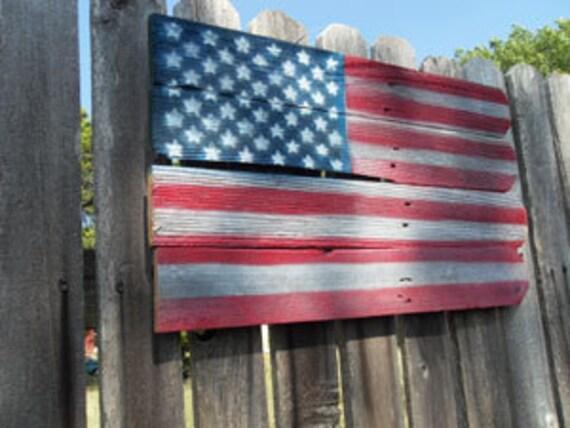 FREE SHIPPING- Rustic, Barnwood, USA Flag