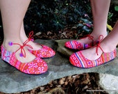 Colorful Pink Hmong Embroidered Ballet Flats Shoes 10.5