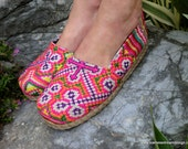 Colorful Rainbow Hmong Embroidered & Batik Womens Vegan Loafers Shoes