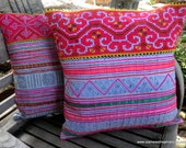 White & Pink Hmong Vintage Appliqué And Embroidery  Pillow / Cushion Covers