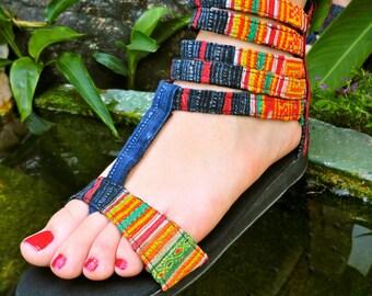 Vegan Gladiator Sandals In Orange & Indigo Hmong Embroidery and Batik - Cassandra
