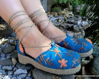25% Off Clearance Sale- Teal Embroidered Floral Espadrille Ankle Wrap Womens Shoes