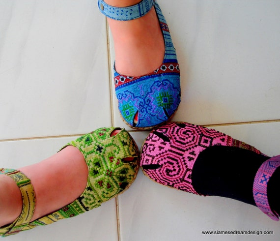 Dahlia in 3 Colors- Hmong Embroidery & Batik, Ankle Strap Mary Jane Espadrille 8