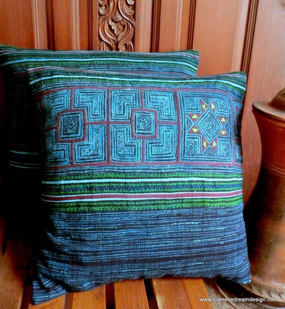 Appliqué Embroidery Batik & Cross Stitch Hmong Pillow Cushion Covers In Blues