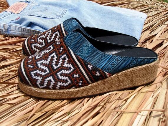 Earthy Mens Shoes Embroidered  Batik Vegan Clogs, Slides, Brown & Blues 8.5