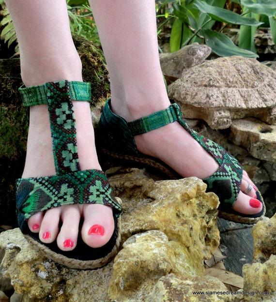 Green T-Strap Vegan Lindsay Sandal In Hmong Embroidery & Batik