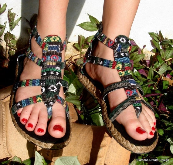 Vegan Isadora Gladiator Sandals, Shoes In Nepali Embroidered Blue Mix