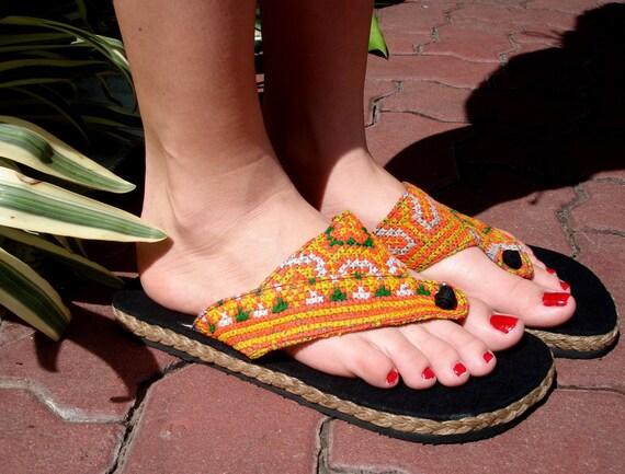 Womens Flip Flop Vegan Sandals In Orange Vintage Hmong Embroidery