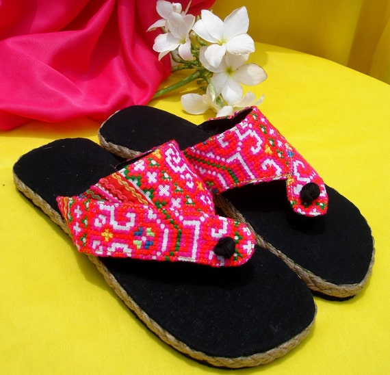 Womens Flip Flop Vegan Sandals In Vivid Pink Hmong Embroidery - Nikki