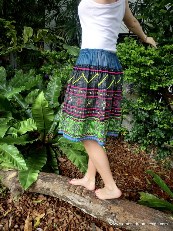 Hand Drawn Indigo Batik and Colorful Embroidery Hmong Skirt