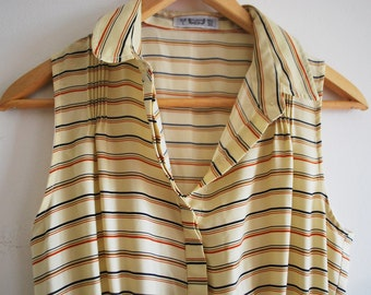 Cute Retro striped tennis-style pleated picnic dress - sleeveless - size 8-10