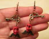Flying Red Death Key Earrings