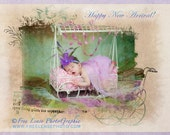 "Happy New Arrival -  5""x7"" Baby Card from the ""Always Unique""  Series"