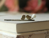 Hair pin Original Love birds on branch with white rose, Antiqued Brass, VintagebyRachel on Etsy