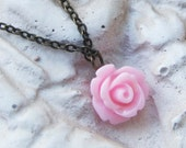 Pink Rose Pendant  Necklace,  Antique brass link Chain
