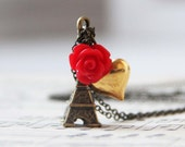 Eiffel Tower Necklace -with red rose and gold heart charms