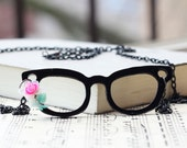 Eyeglasses Pendant  Necklace - Black Metal - Vintage style flower
