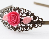 Filigree Headband - fuchsia pink rose -resin pink leaves - Antique Brass - Vintage style - Very romantic.